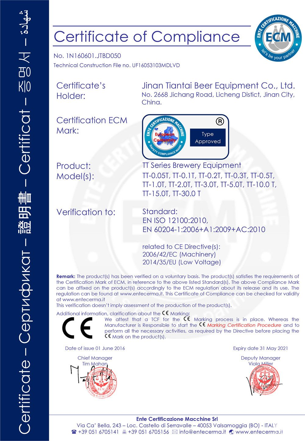 Iso Ce Certifications Pressure Equipment Machinery And Low
